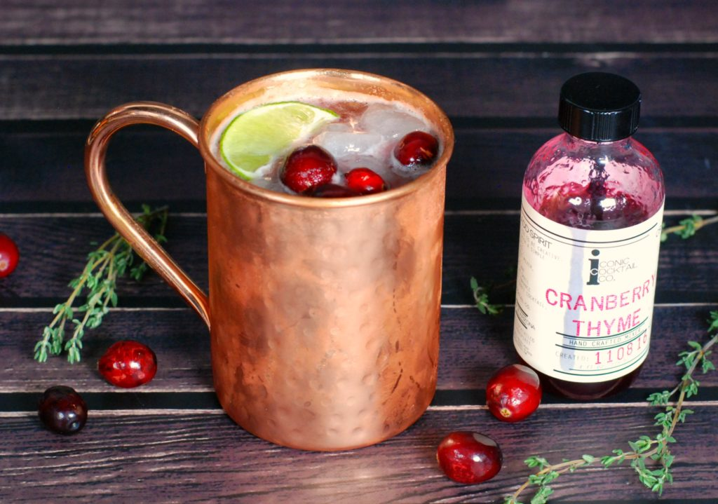 cranberry-thyme-whiskey-mule-mixer