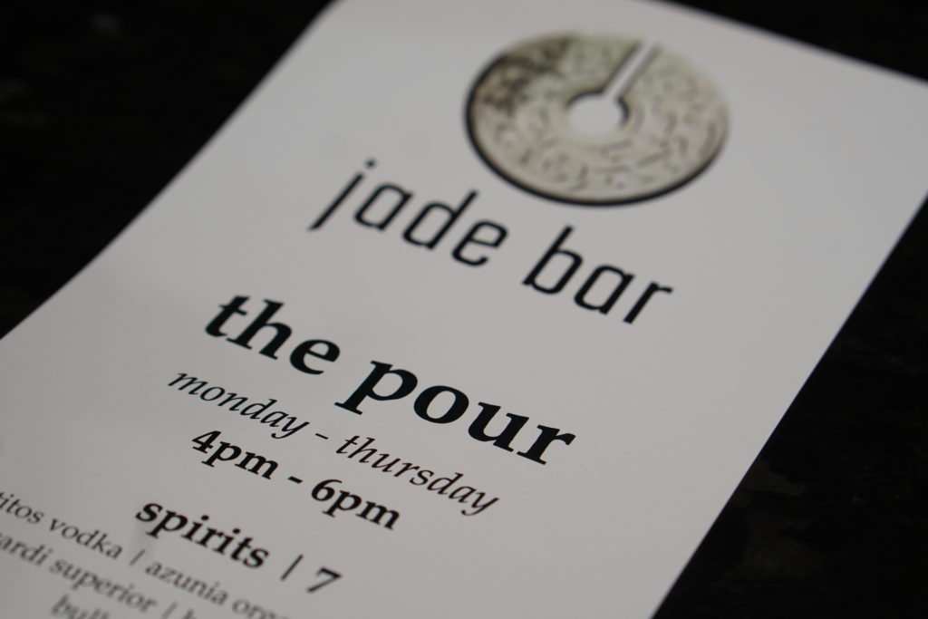 Jade Bar The Pour Happy Hour menu