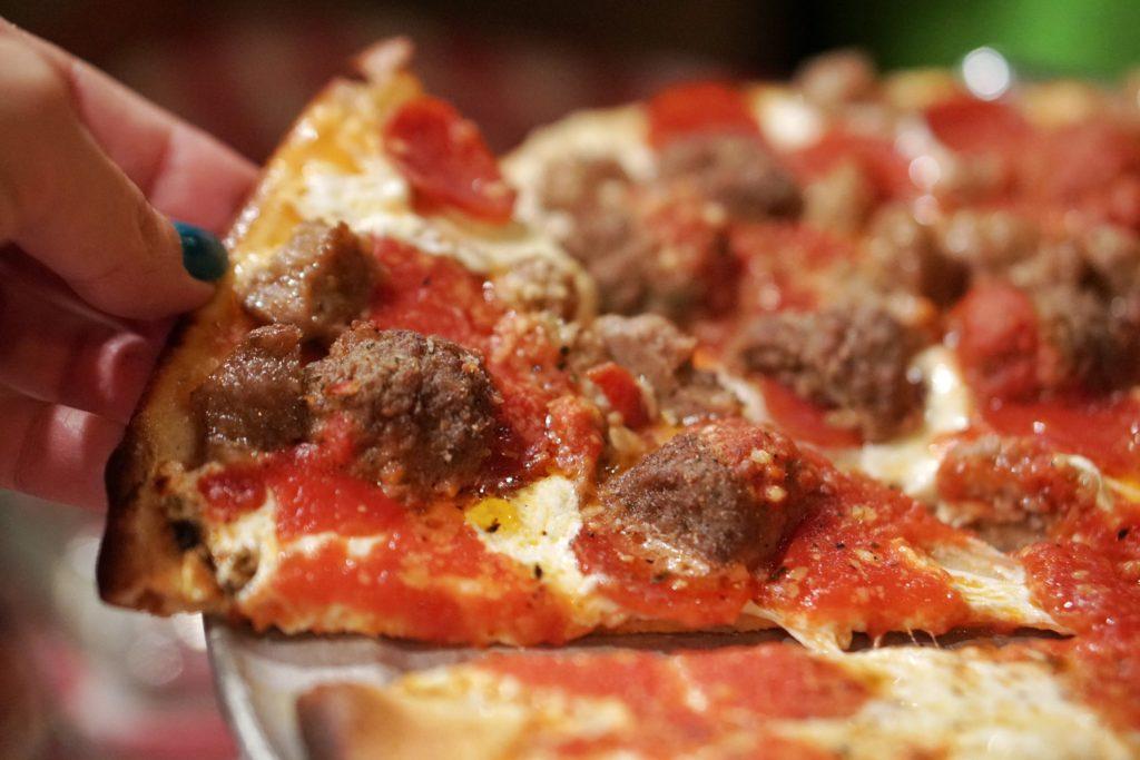 Grimaldis meatball pizza