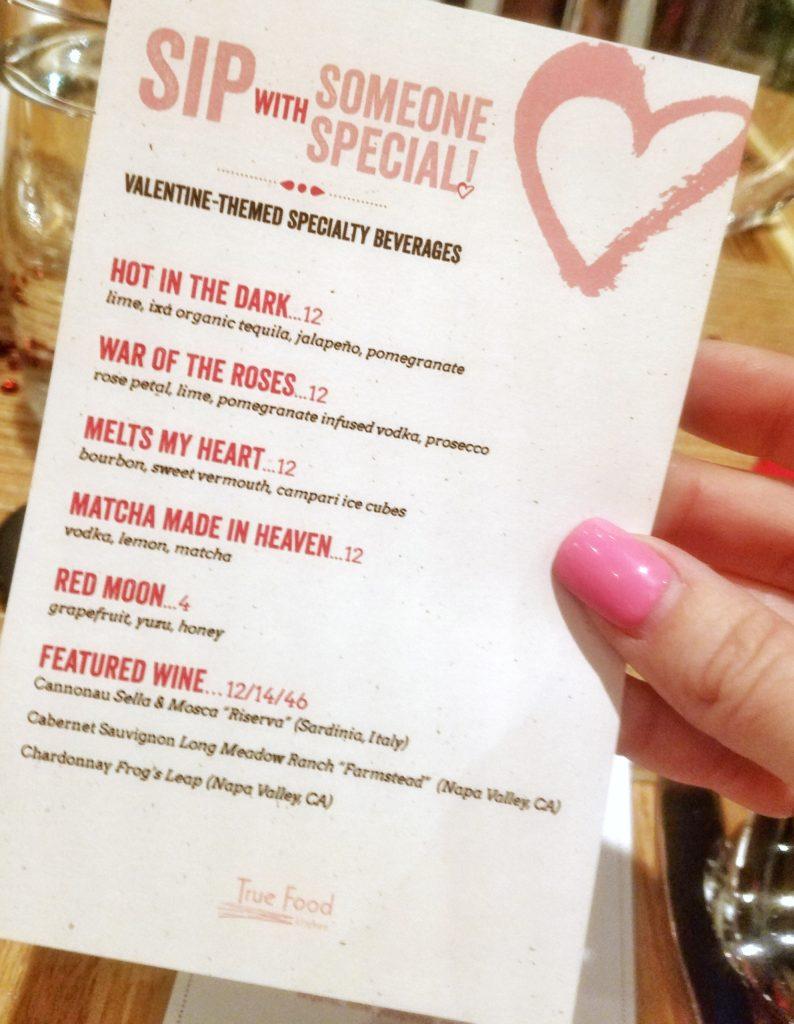 True Food Kitchen Valentine's Day Drink Menu