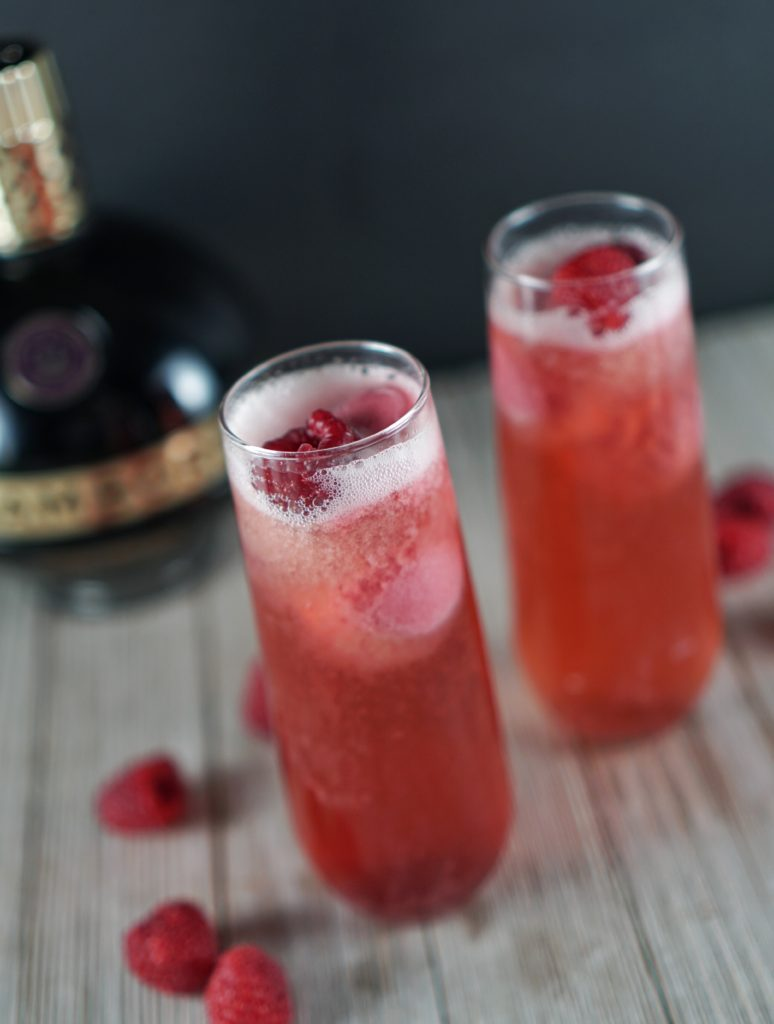 Raspberry Sorbet Champagne Cocktail