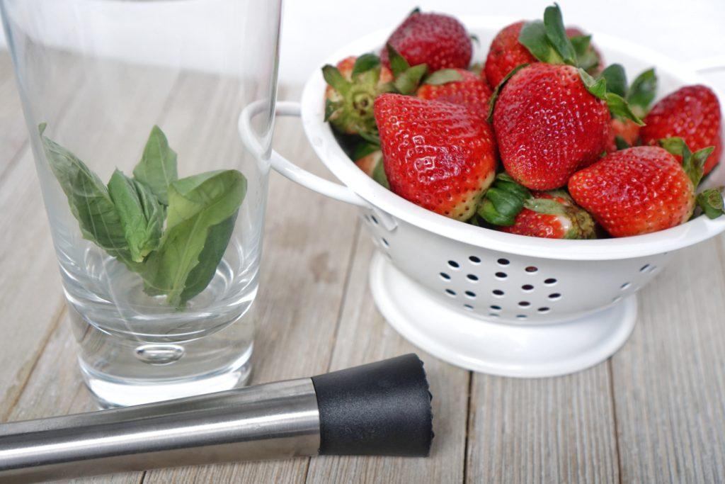 Strawberry Basil Smash Cocktail muddle